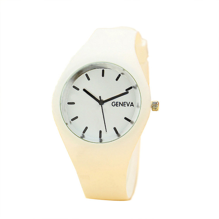 Leisure Sports Candy-Colored Jelly Watch Silicone Strap White