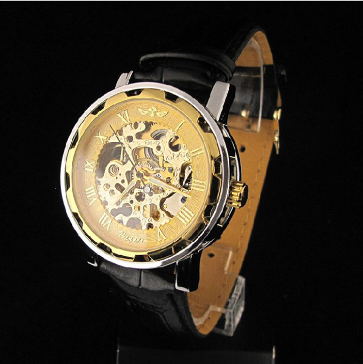 Men's Leather Dial Skeleton Mechanical Bling Watch