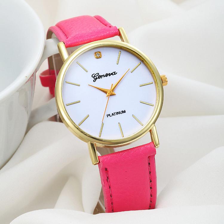 Fashion Design Dial Leather Band Analog Quartz Wrist Watch