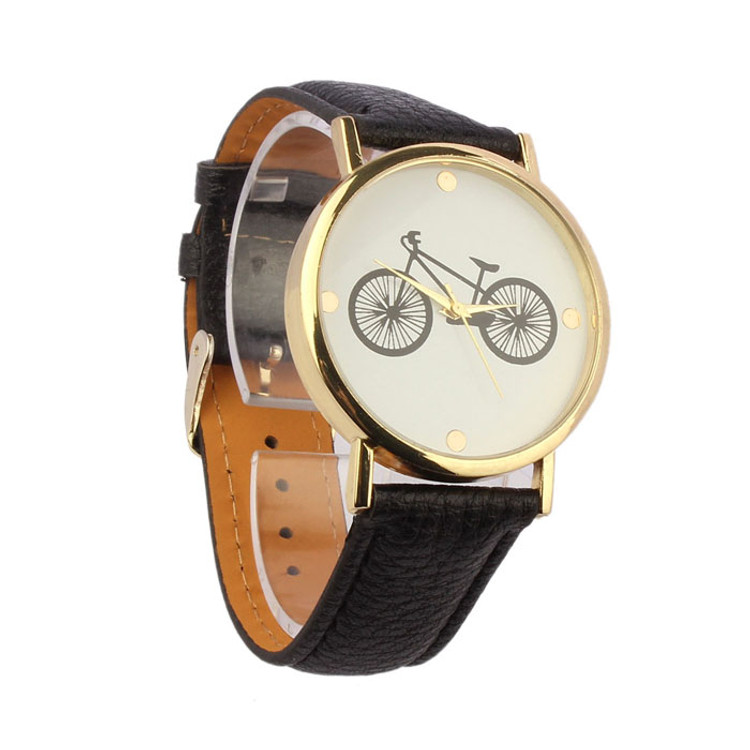 Fashion Bicycle Pattern Leather Band Wrist Watch