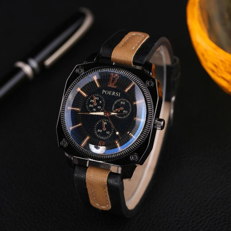 Mens Square Circle Classic Black Dual Leather Watch