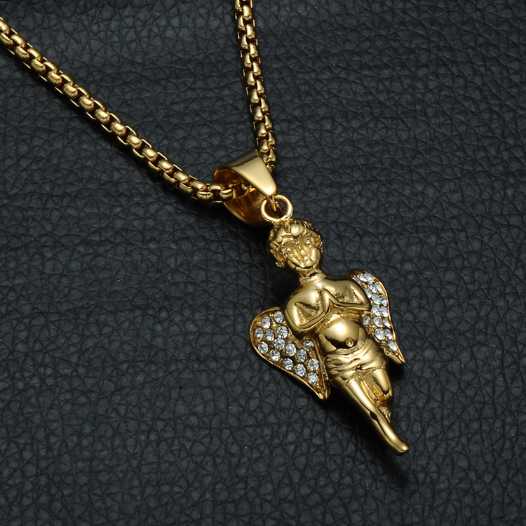 Praying Guardian Angel 14k Gold Hip Hop Pendant