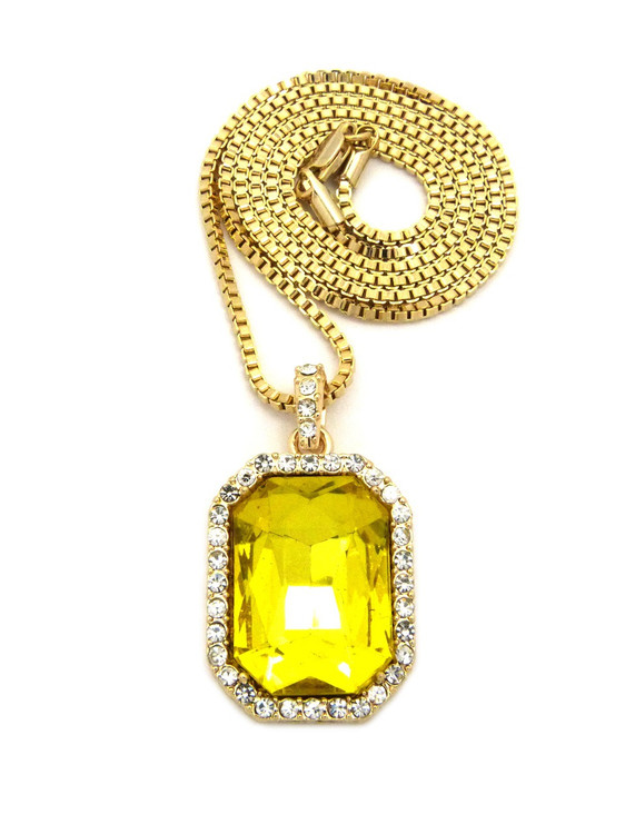 Onyx Shield Diamond Cz Iced Out Pendant Emerald Yellow