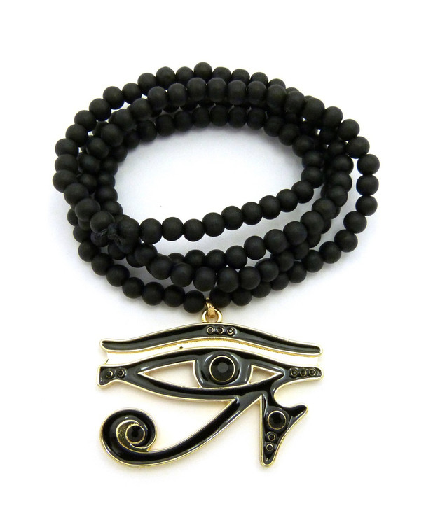 Diamond Cz Eye Of Ra Iced Out Pendant Wooden Chain Black