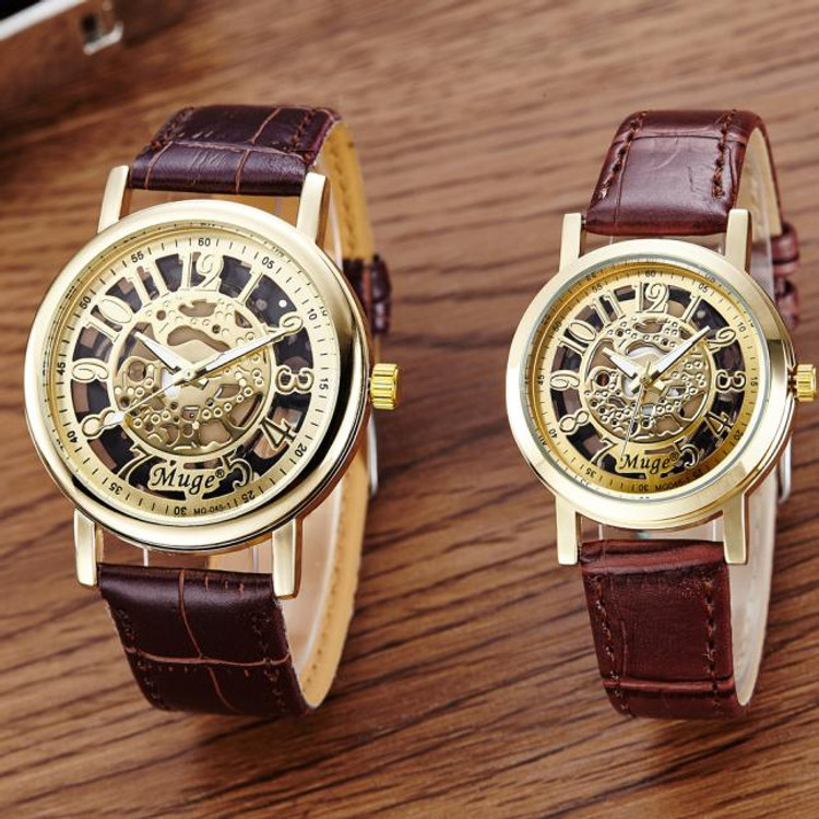 Skeleton Mechanical Couples Watch Leather