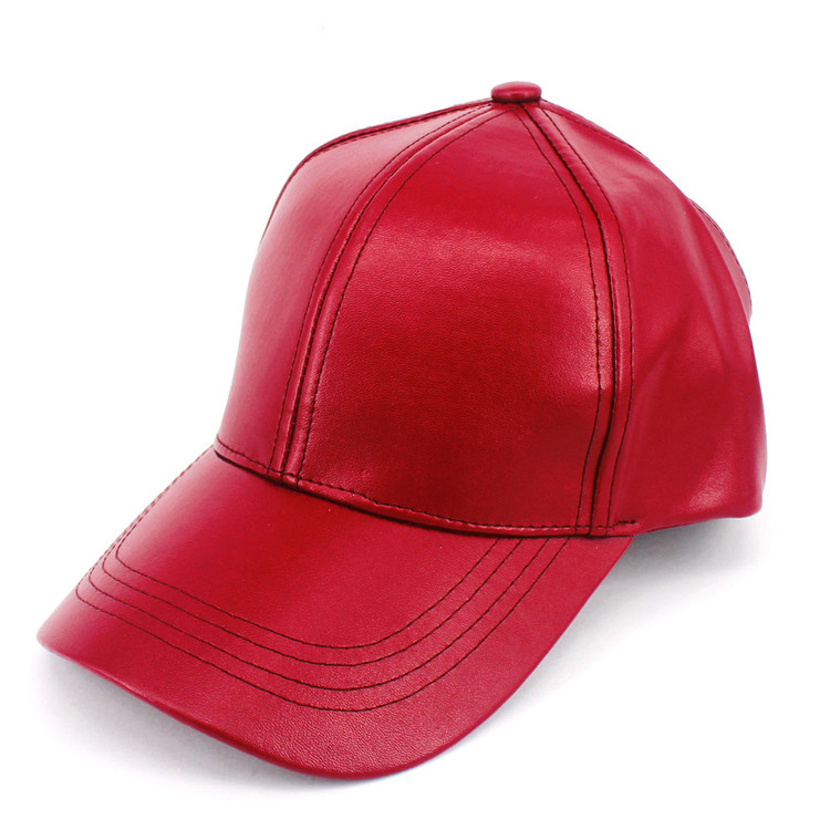 Smooth Stylish PU Leather Hat Red