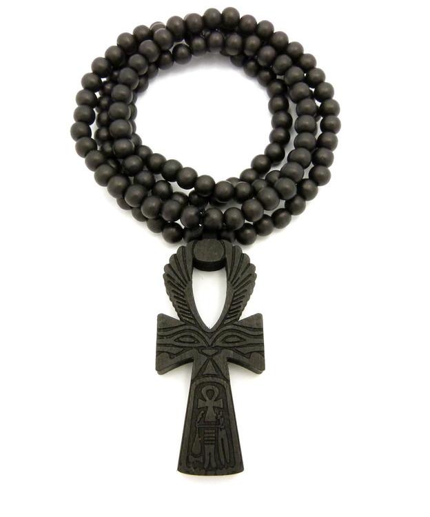Eye Of Ra Wooden Ankh Cross Pendant Black