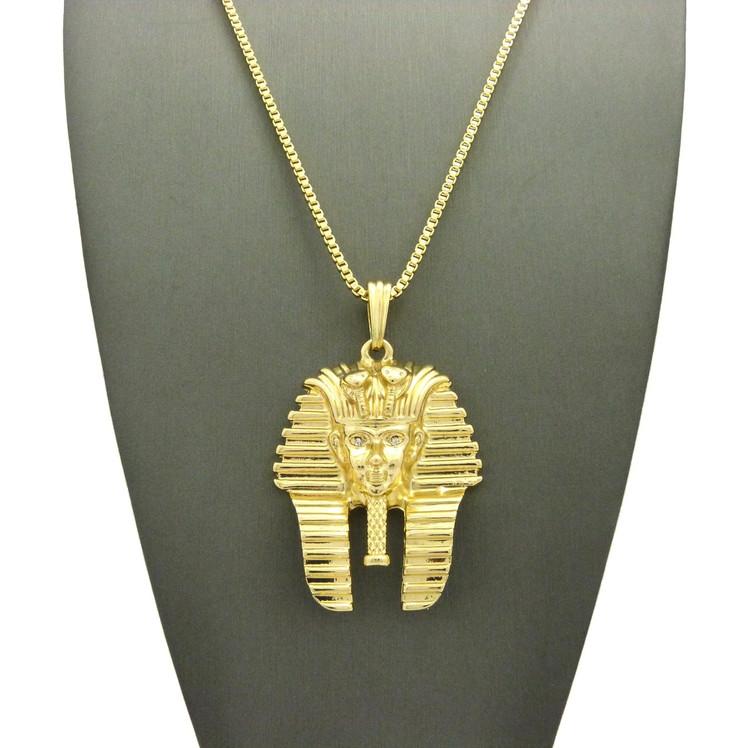 14k Gold Diamond Cz King Tut Egyptian Pendant Box Chain