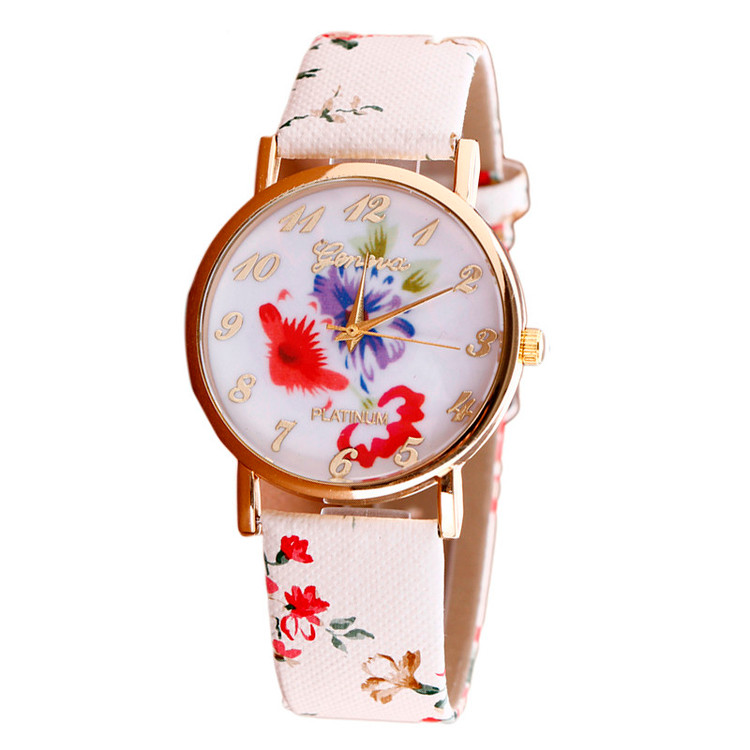 Flower Pattern Leather Band Analog Quartz Vogue Wrist Watch