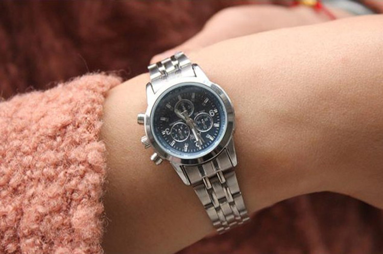 Stainless Steel Luxury Fashion Bling Womens Wrist Watch