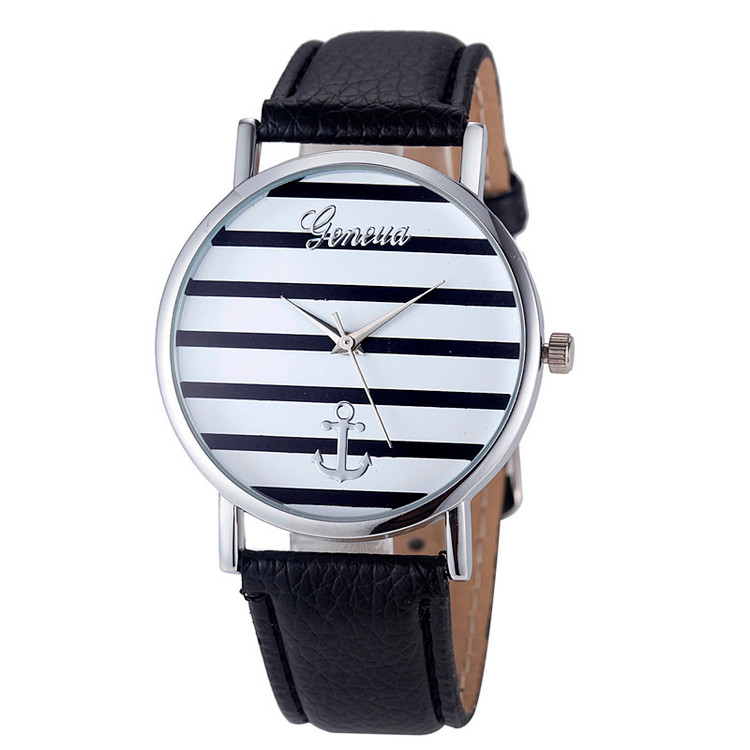 Women's Geneva Striped Anchor Leather Quartz Wrist Watch