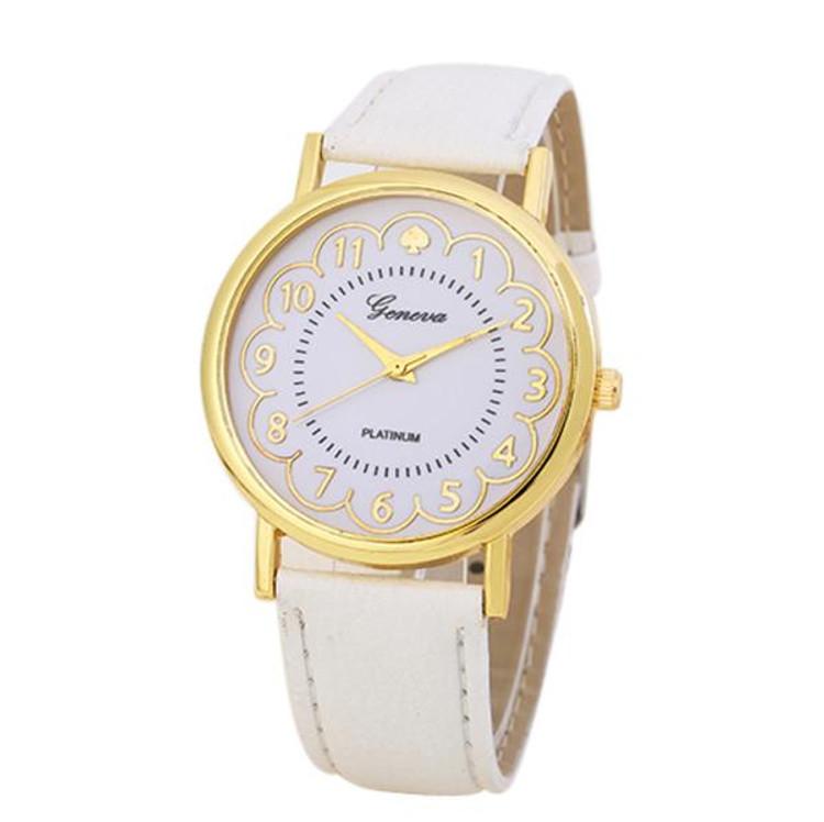 Women White Gold Leather Band Analog Quartz Wrist Watch