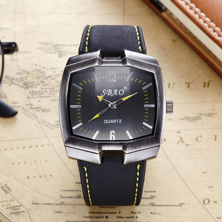 Slim Casual Black Leather Business Men's Watch