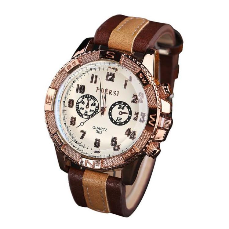 Luxury Men's Analog Quartz Double Brown Leather Sport Wristwatch