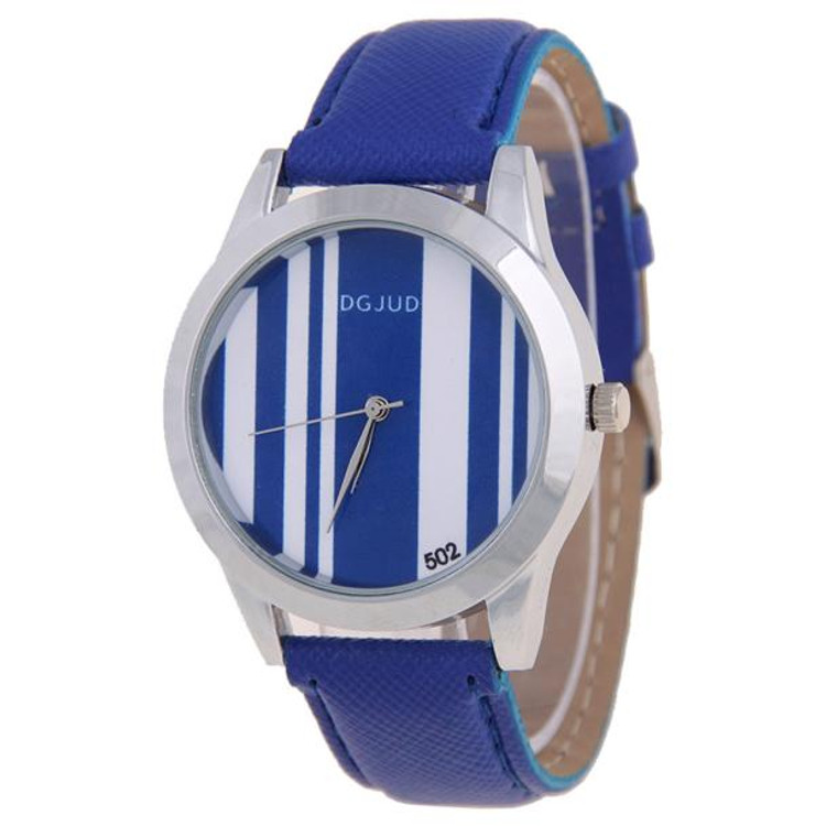 Pinstripe Plaid Simple And Elegant Leather Strap Watch