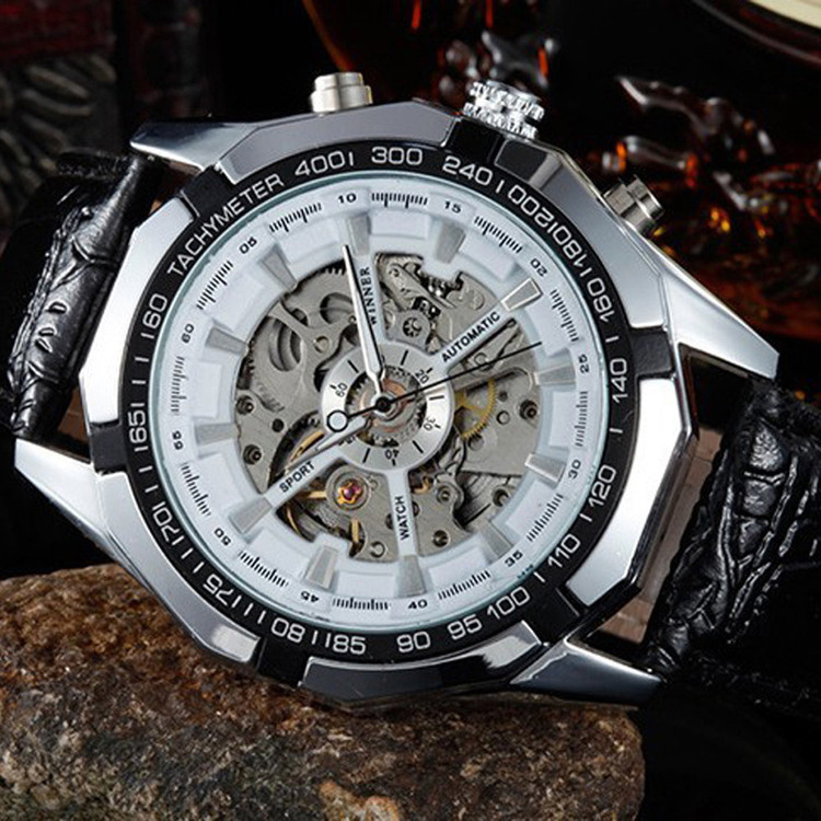 Men's kinetic Energy Black Leather Dial Skeleton Mechanical Wrist Watch