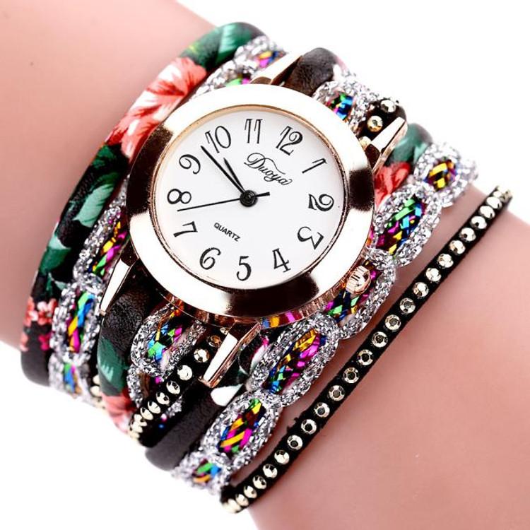Women Flower Luxury Bracelet Style Gemstone Wristwatch