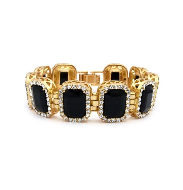 14k Gold Iced Out Ruby Black Stone Diamond Cz Premium Bracelet