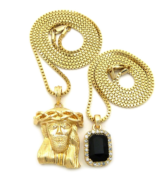 14k Gold Kings Crown Micro Jesus Piece Onyx Gem Pendant