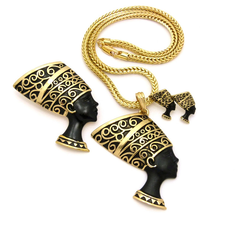 Queen Nefertiti Pendant Earrings Brooch Set Black