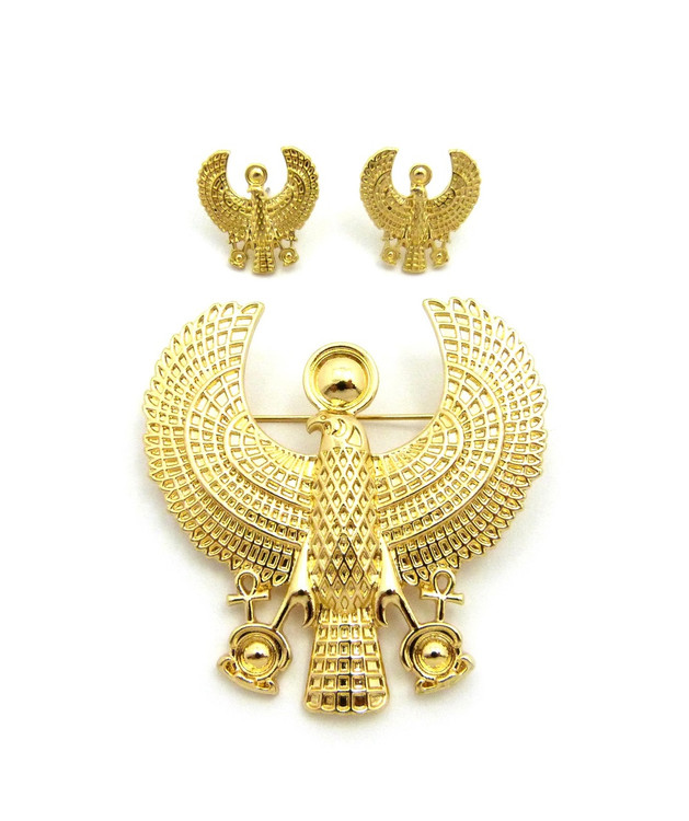 14k Gold Egyptian African Horus Bird Brooch Pin Earrings Set