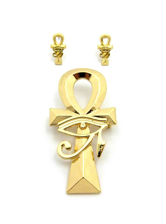 Eye Of Ra Ankh Cross 14k Gold Egyptian Brooch Pin Earrings Set
