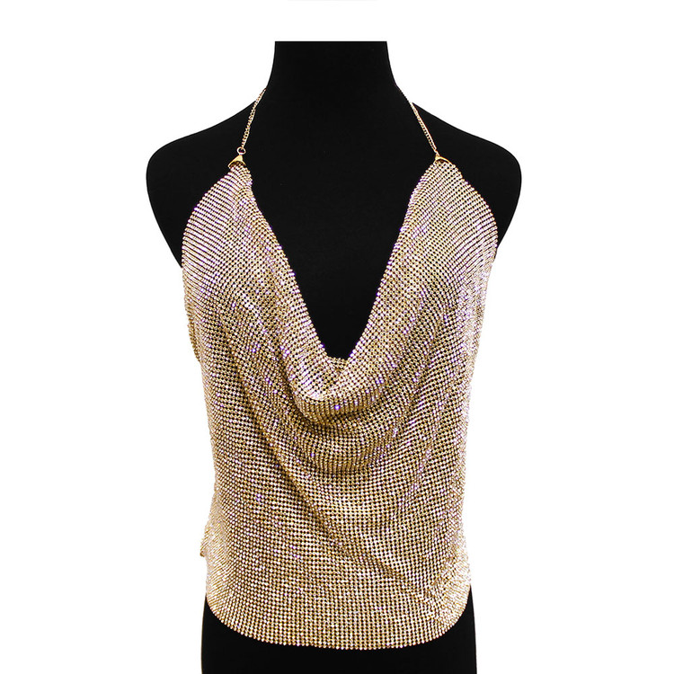 Ladies Mesh Halter Top Backless Body Chain Blouse Gold