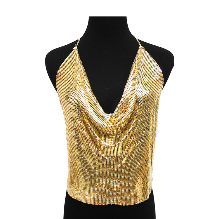 Ladies Mesh Halter Backless Body Chain Blouse Gold