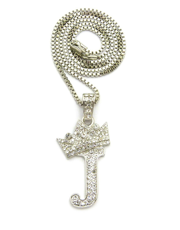 .925 Silver SP  Crowned Initial J Simulated Diamond Chain Pendant