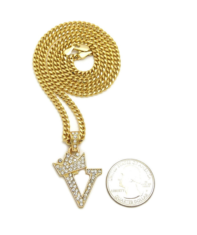 14k Gold GP Crowned Initial V Simulated Diamond Chain Pendant