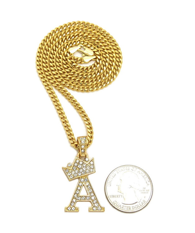 14k Gold GP Crowned Initial A Simulated Diamond Chain Pendant