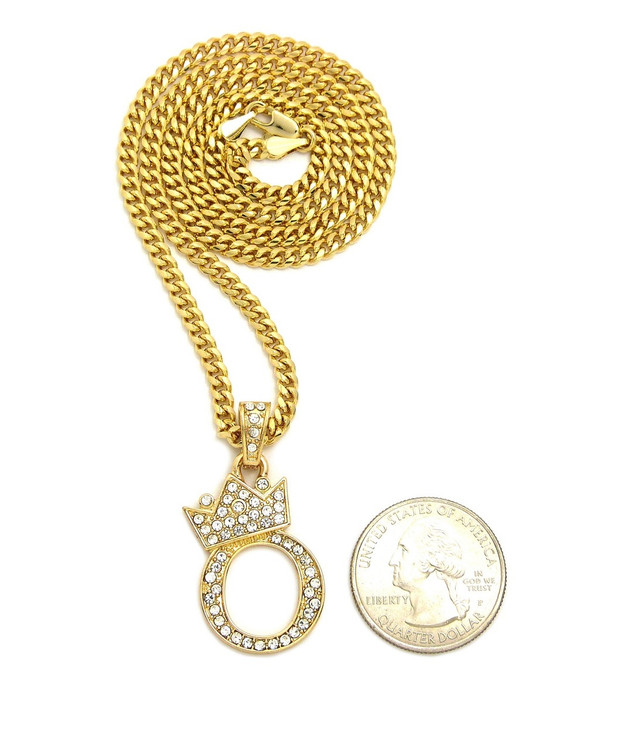 14k Gold GP Crowned Initial O Simulated Diamond Chain Pendant