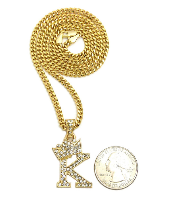 14k Gold GP Crowned Initial K Simulated Diamond Chain Pendant