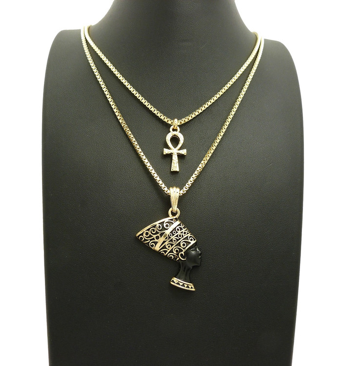 14k Gold Black African Queen Nefertiti Ankh Cross Pendant Chain
