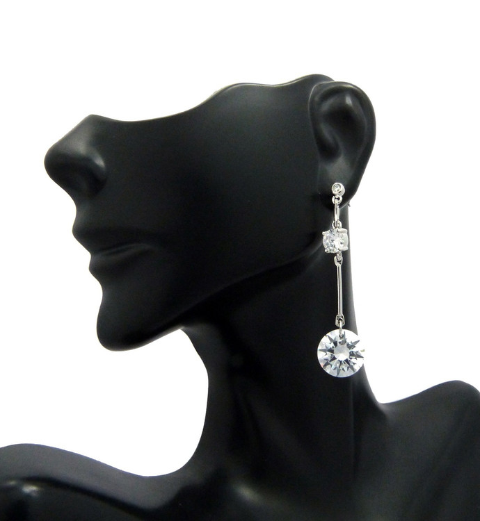 Ladies 6mm and 12mm Long Hook Cz Diamond Stone Earrings