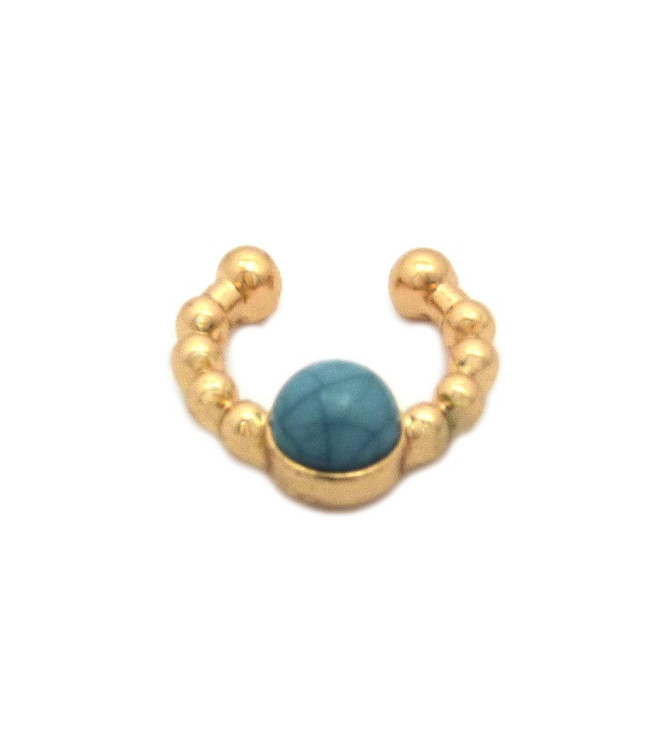 Faux Turquoise Pearl Gold Horseshoe Nose Ring