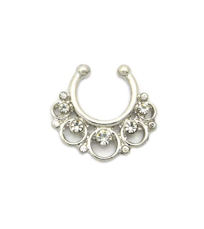 Circle Stone Diamond Cz Horseshoe Studded Nose Ring