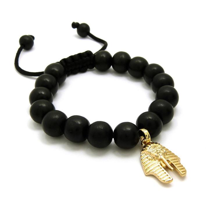 Egyptian King Tut 14k Gold Wood Bead Bracelet