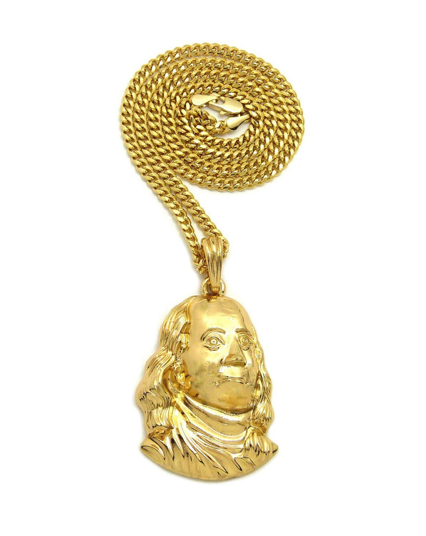 14k Gold Benjamin Franklin Hip Hop Chain Pendant