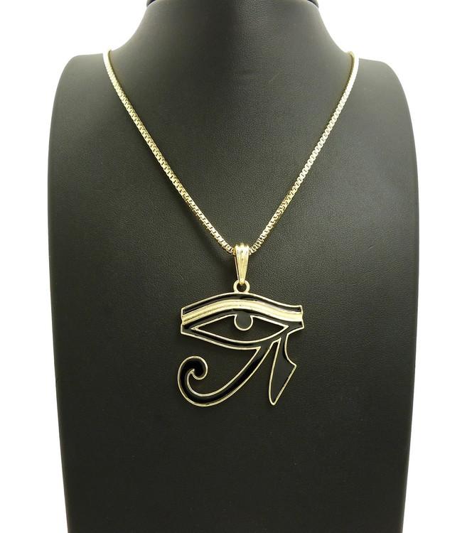 Eye Of Ra Black Enameled Micro Pendant 14k Gold