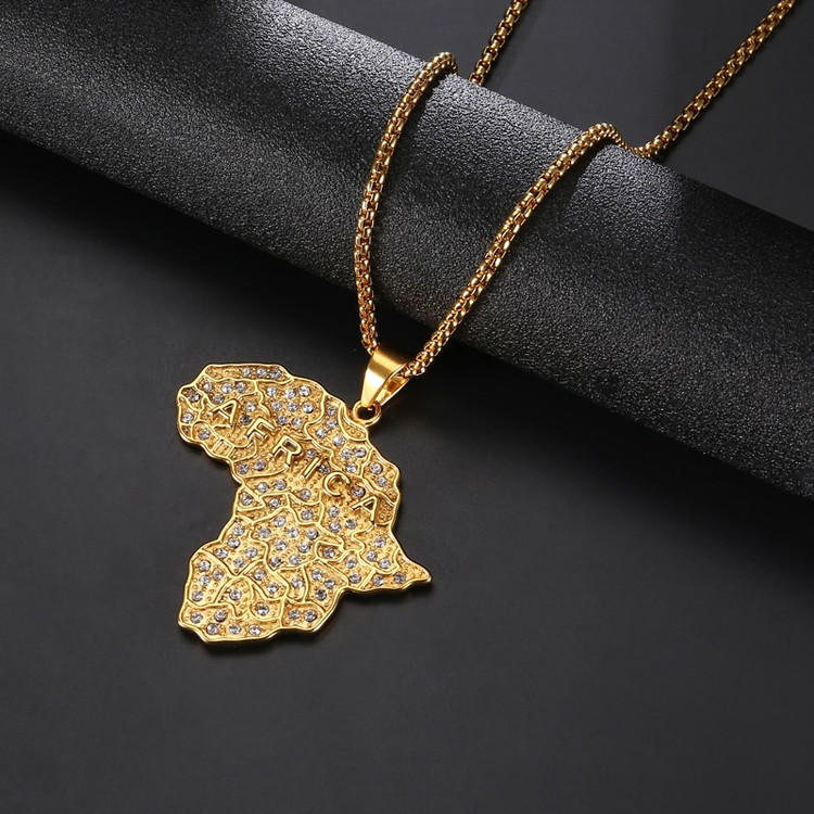 Africa Continent Medallion Chain Pendant
