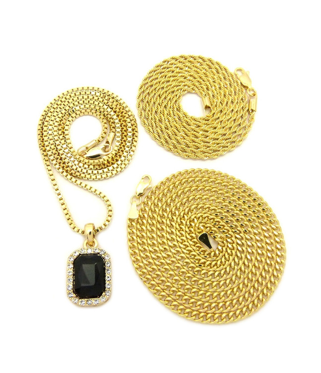 Black Onyx Box Rope Cuban Link Chain Hip Hop Chain Set