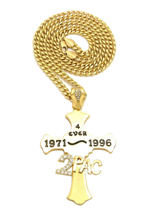 14k Gold 2 Pac Forever Diamond Cz Hip Hop Cross Chain Pendant