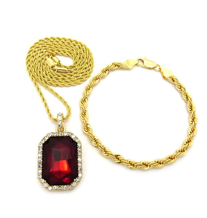Red Onyx Rope Chain Bracelet Hip Hop Pendant Set