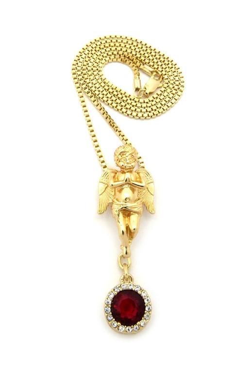 Prayer Angel Cherub Red Onyx 14k Gold Gemstone Pendant