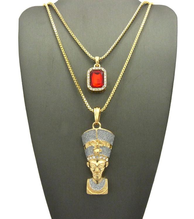 Crushed Ice Queen Nefertiti Gemstone Pendant Chain