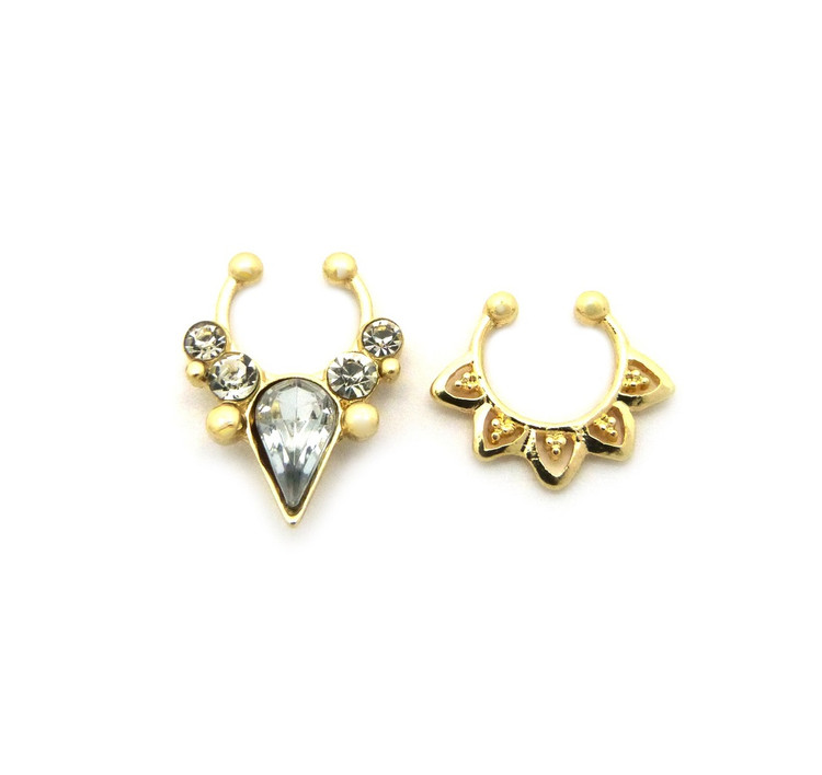 Tear Drop Iced Out Double Nose Ring