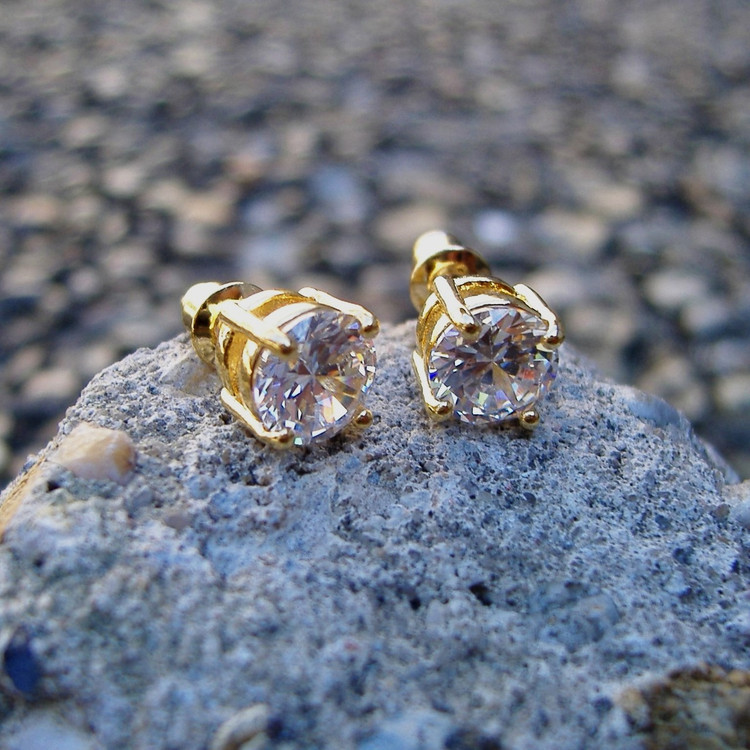 Iced Out 14k Gold 7mm Diamond Cz Earrings