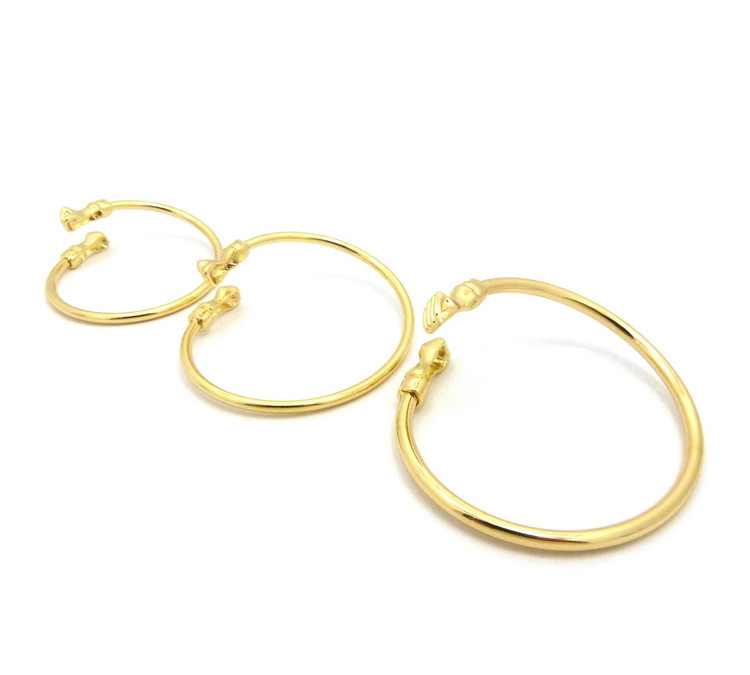 14k Gold Black Power Fist Bangle Bracelet