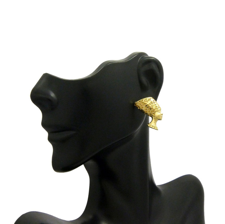 14k Gold African Egyptian Queen Nefertiti Pierced Earrings